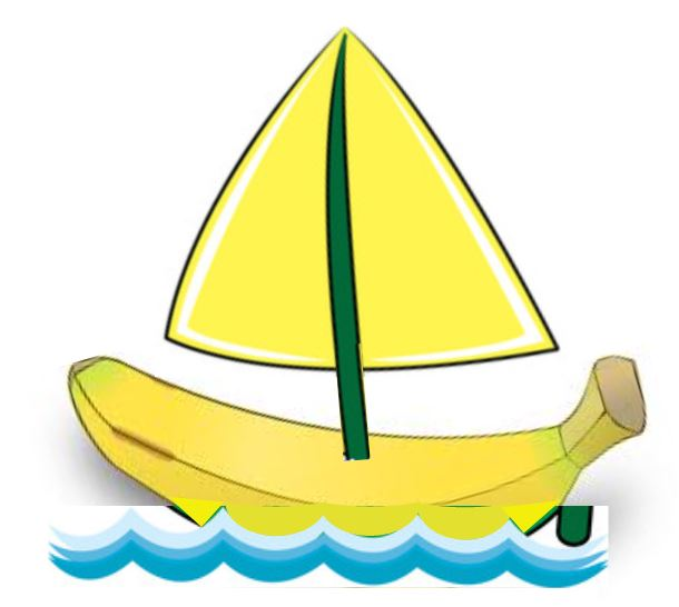 Banana floating on the ocean with a sail attached to it