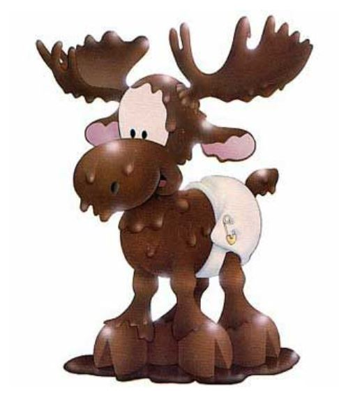Animal with antlers dripping with brown stuff