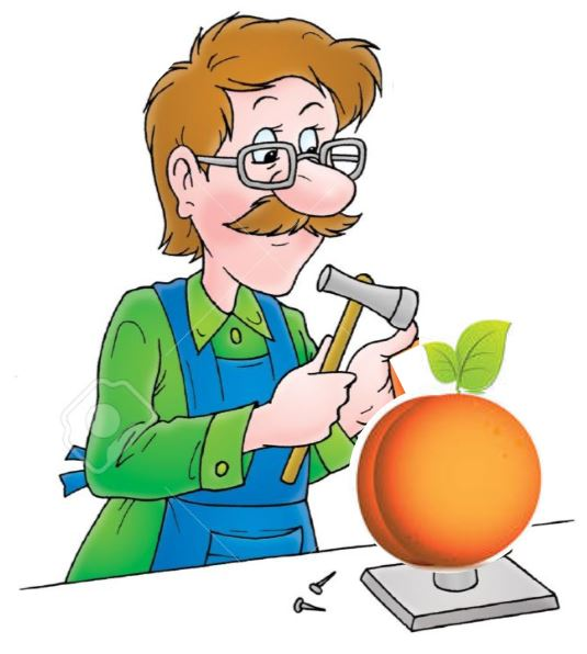 Man working on a peach instead of a shoe